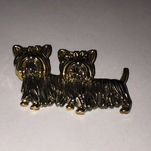 Yorkie Yorkshire terriers dog pin brooch Signed